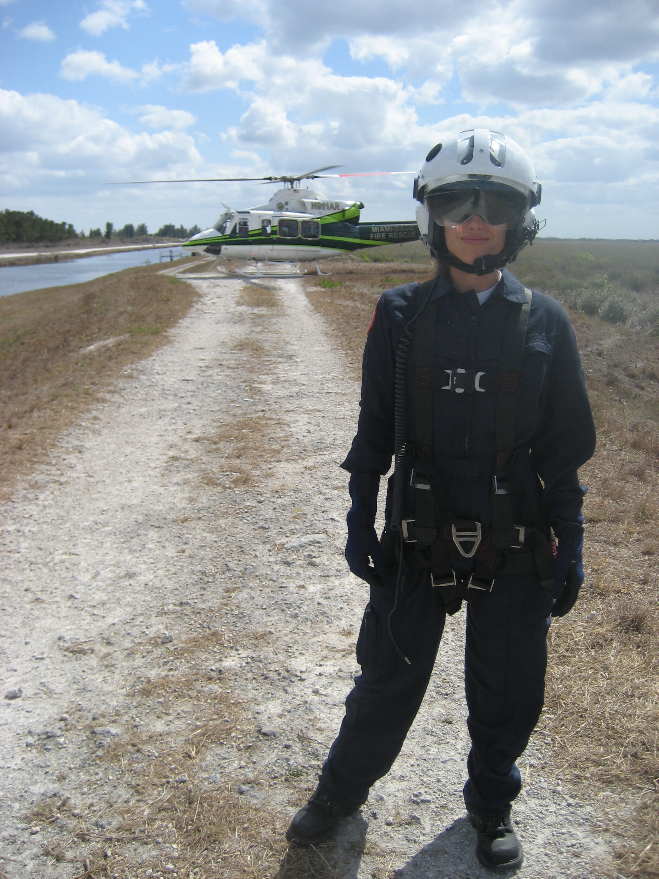 Portrait of a leader: Haff in front of her helicopter.