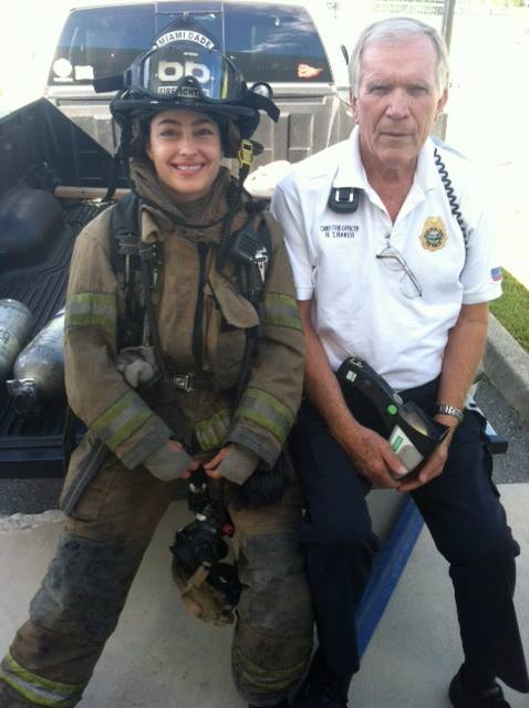Haff with the Chief after a fire.