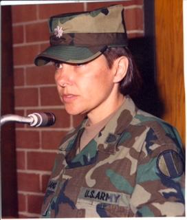 Then LTC McWilliams briefs her battalion