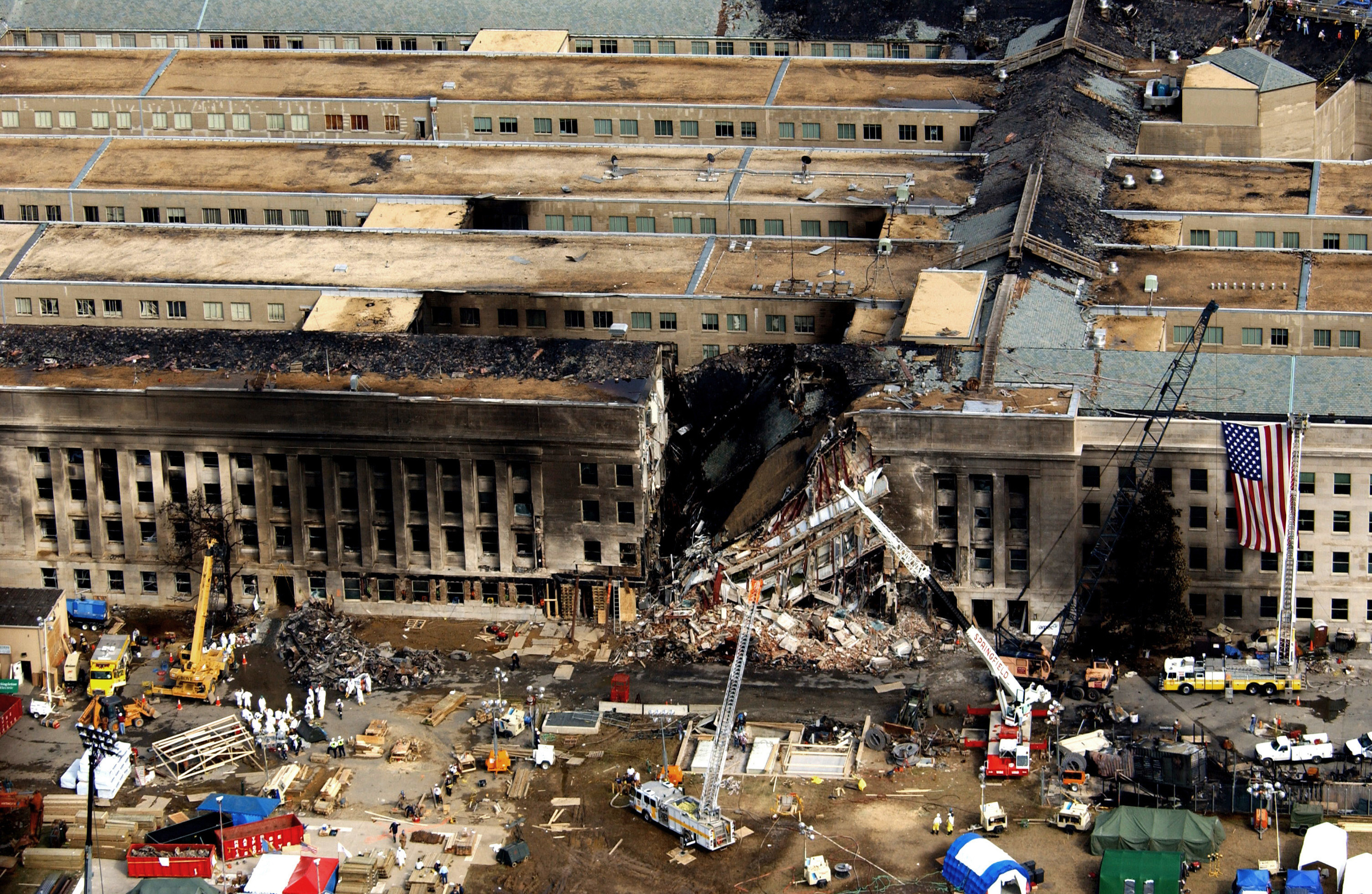 Aerial view of the Pentagon during rescue operations after the September 11, 2001 attack. Photo from Wikipedia.