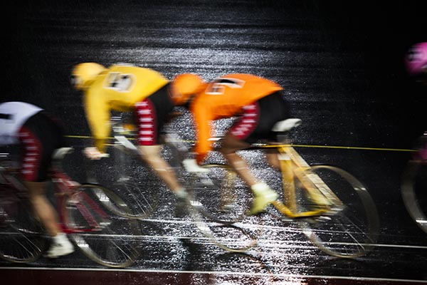 Keirin race at  Keiokaku open-air Velodrome, Tokyo
