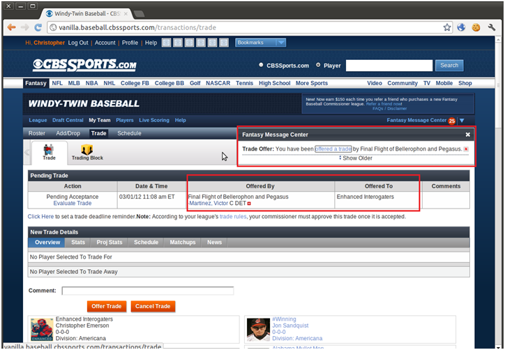 Figure 5. Attacker's team's trade page displaying the unauthorized trade offer from the opponent's team.