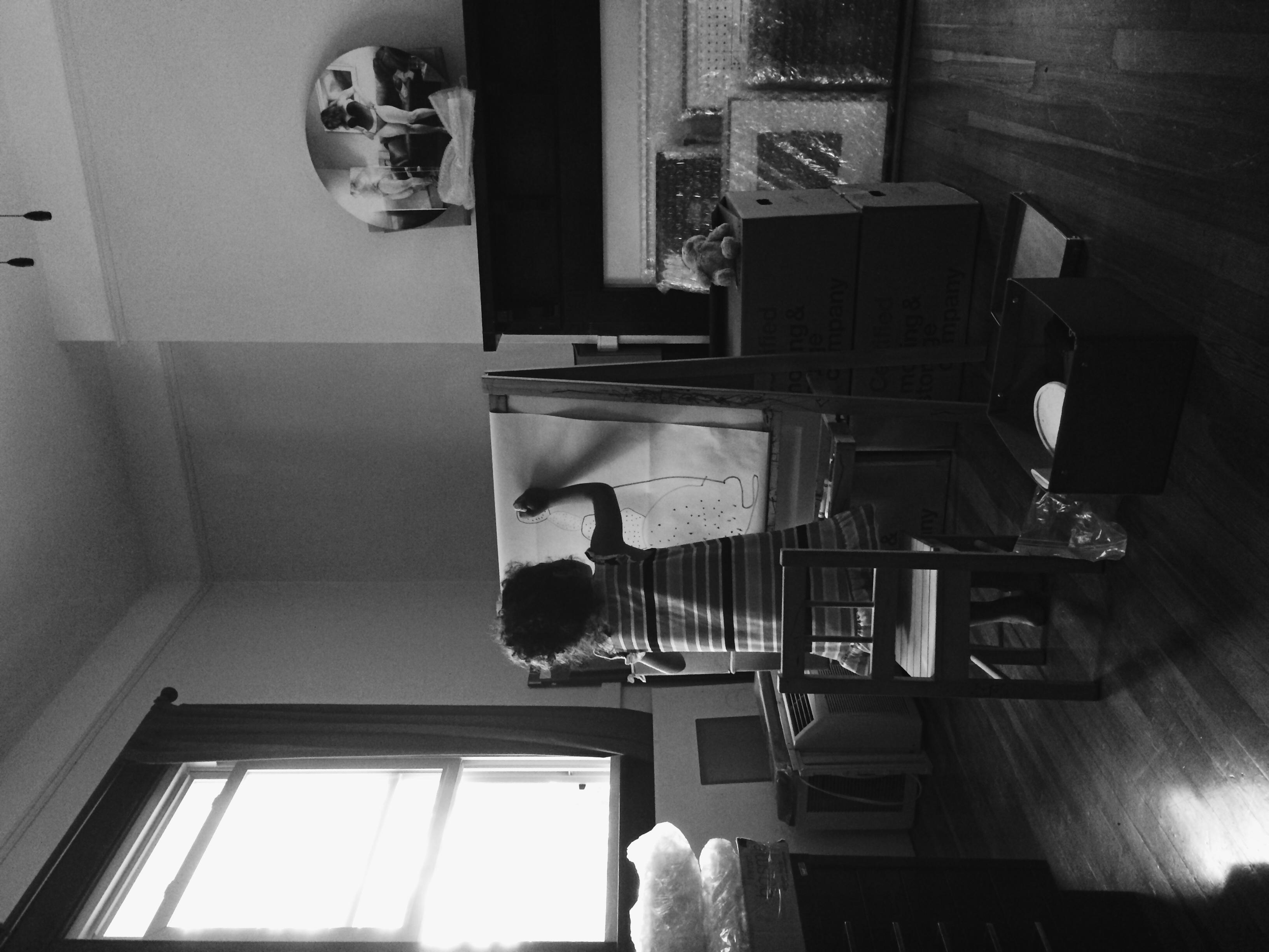 Isabel breaking in my new studio.