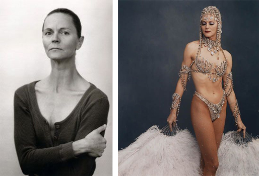The before and after tranformation of a Showgirl. © Annie Leibovitz