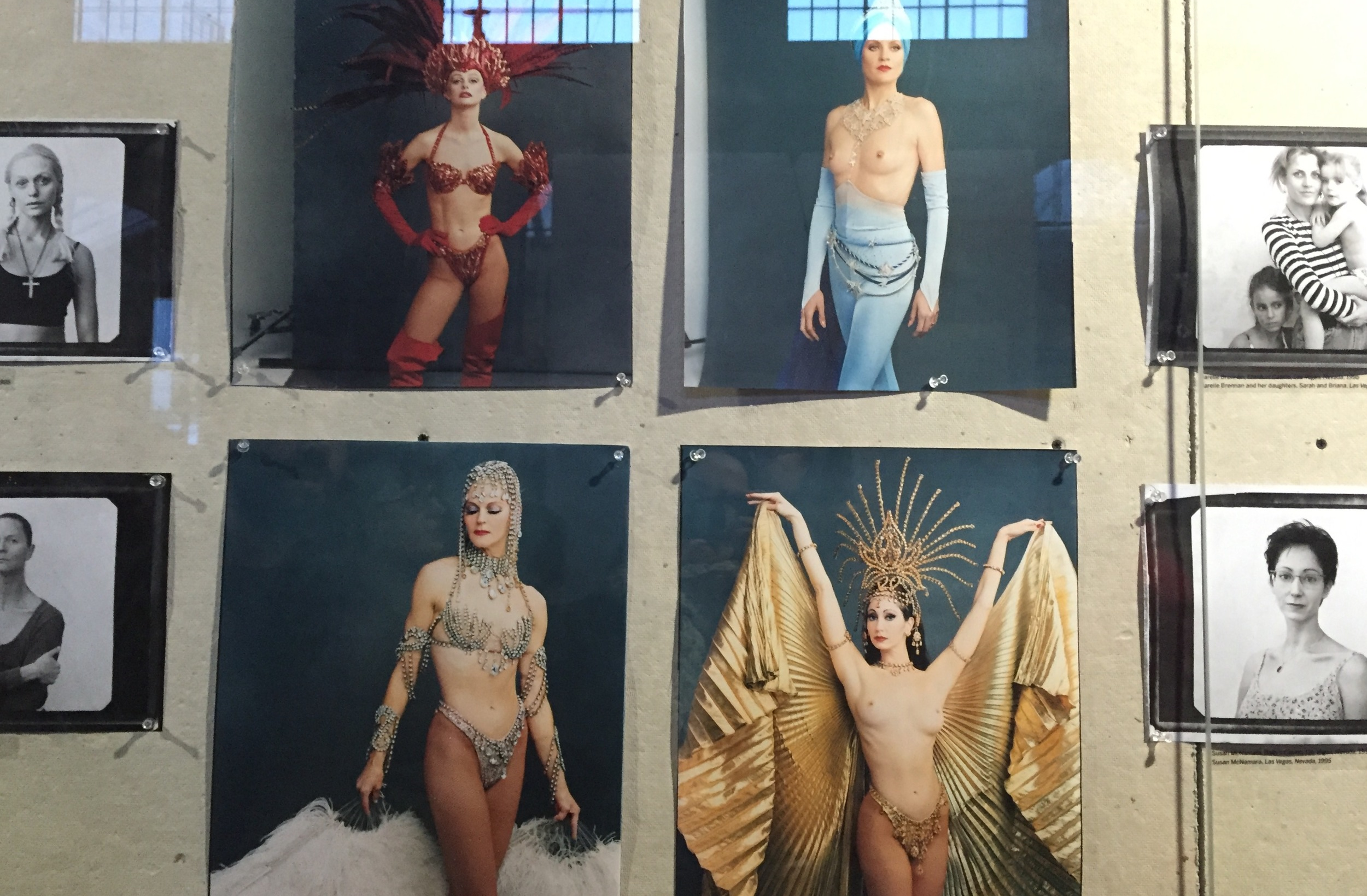 Showgirls showing the transformation in and out of costume.