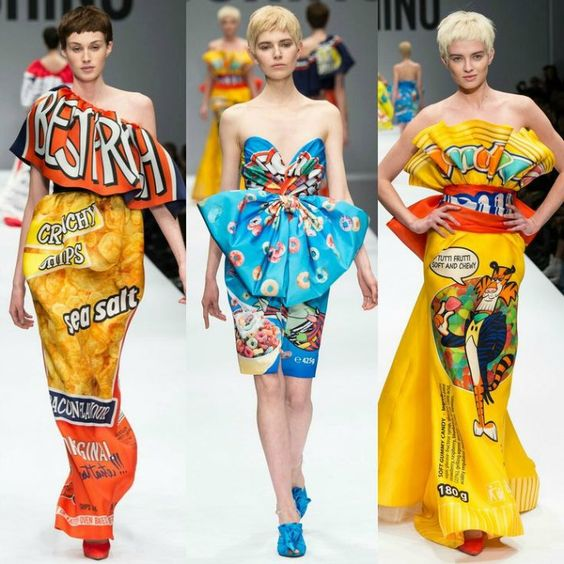 """Common"" Food packaging dresses by Jeremy Scott for Moschino  Image Credit: Moschino"
