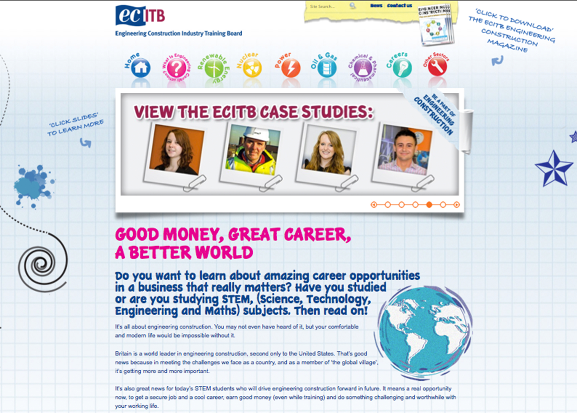 Website layout for  ECITB
