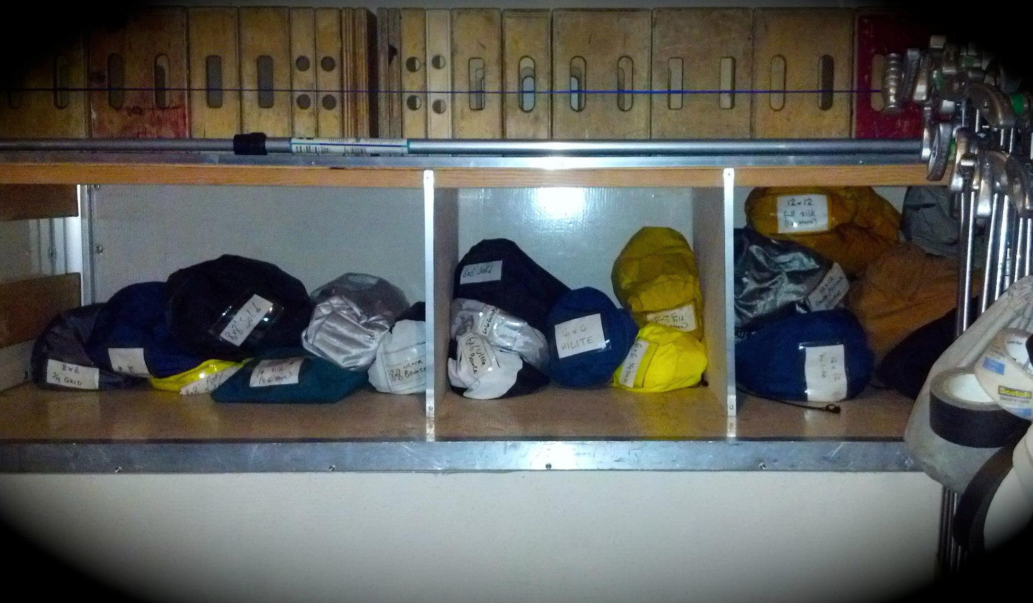 Overheads are organized by color -- black for solids, yellows for silks, blues for vinyls, grays for grids clothes.