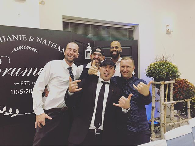 My Guys 🙌🏼👊🏼❤️ !  Had the absolute pleasure of Deejaying lifelong school friends Nate & Steph's Wedding ❤️❤️! October 5th, 2019 will forever be in my best memories 🙏🏼👌🏼🔥🔥🔥 one of the Best parts of the night was the Groom asking for my remix I produced Fugees-Fugeela Wrekshot Jungle remix as the last song 👌🏼 We have always been that company that can play Genres you wouldn't expect like old school Jungle DrumNBass!  Not all couples/crowds want the norm or if they do just a little bit 👣💃🏽. Whatever it takes to have the best party that will excite & evoke the feels 💯 👌🏼 Congrats to Nate & Steph ❤️🙏🏼🙌🏼🙌🏼 #ontrackwiththetracks