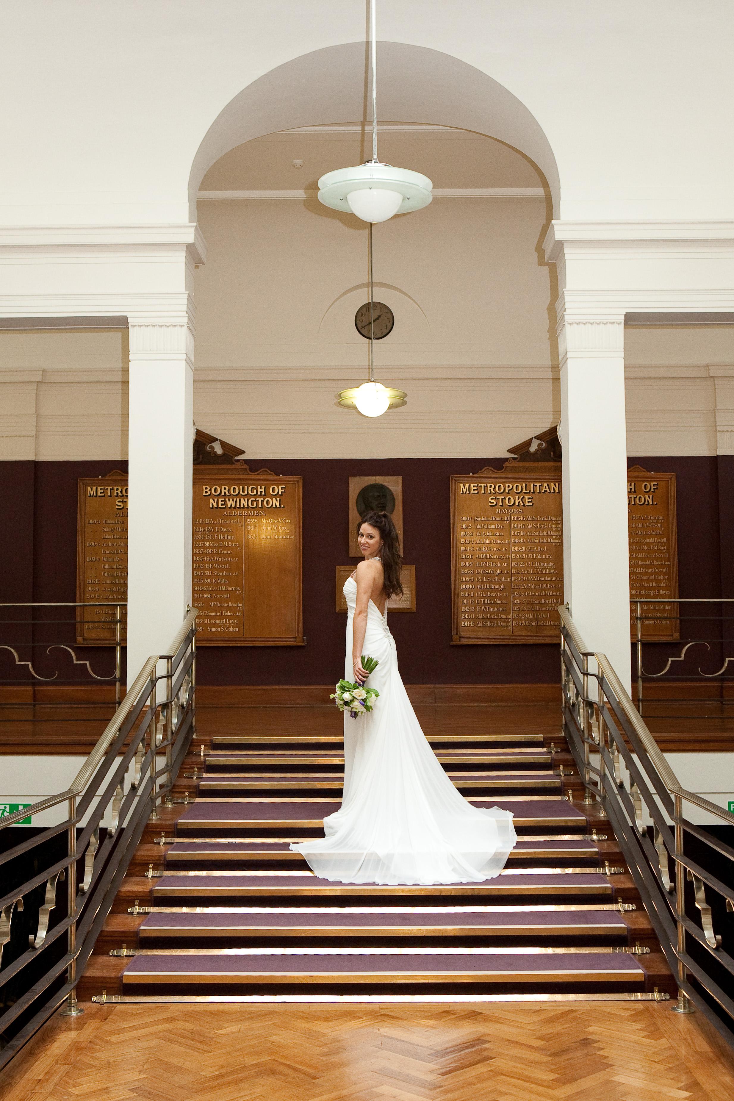 A bride outside Stoke Newington Council Chamber
