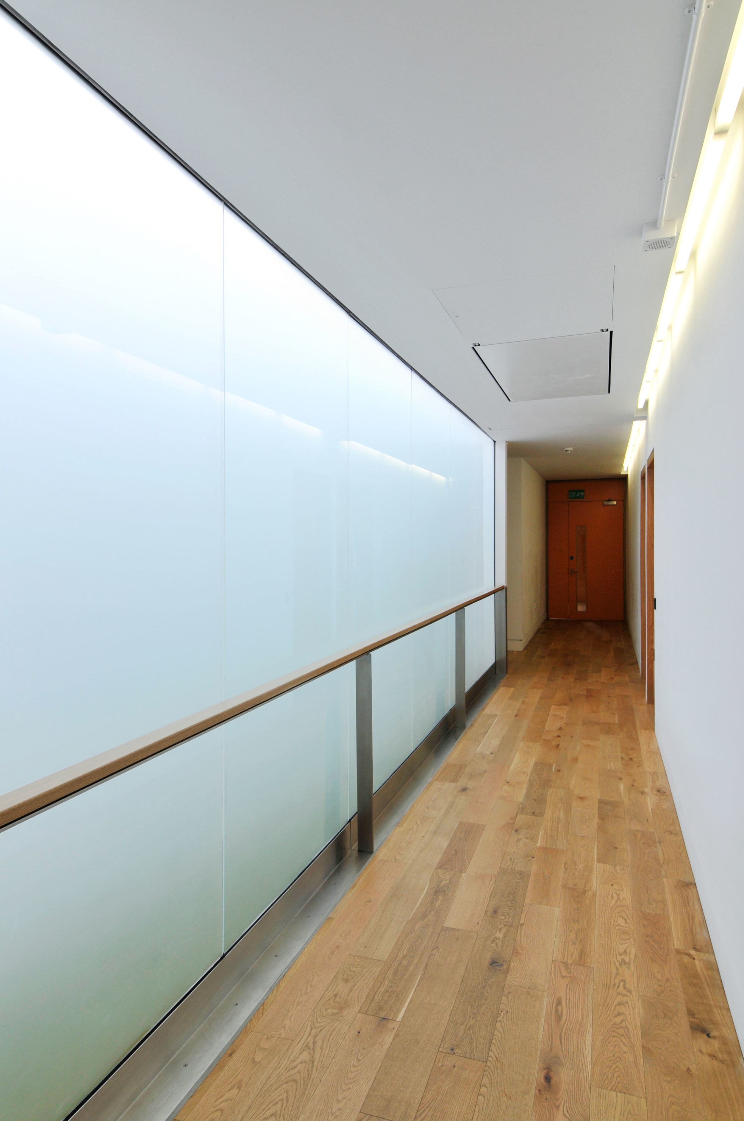 Corridor leading to meeting rooms in Hackney Marshes Centre