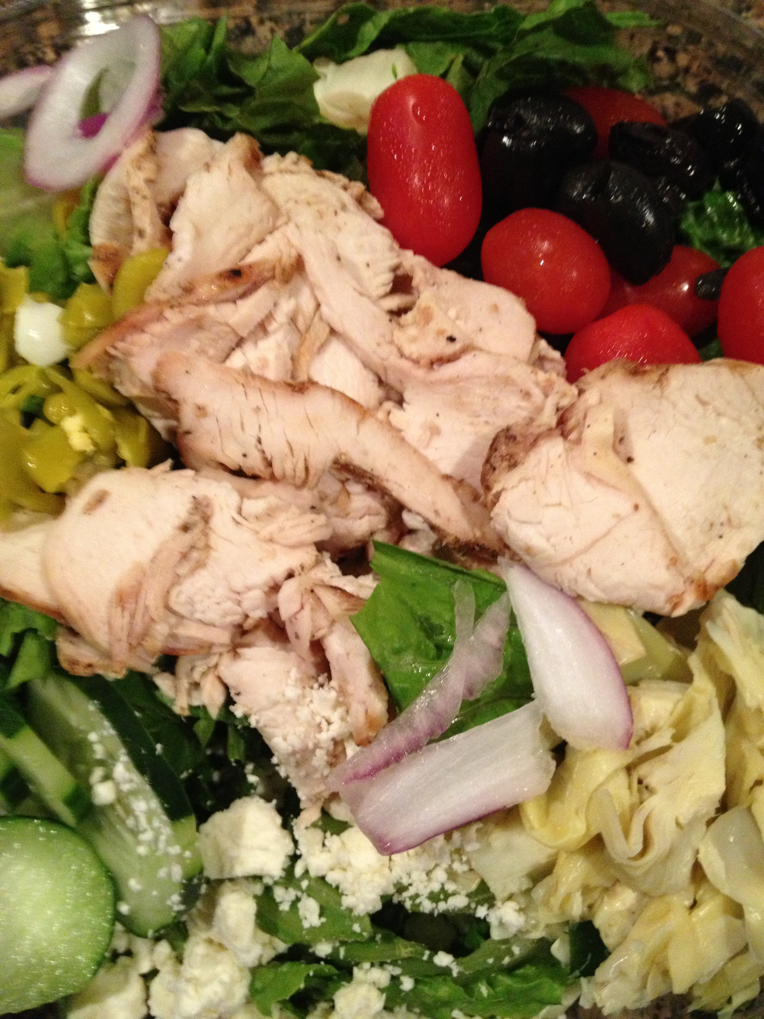 Greek Salad with Grilled Chicken Breast