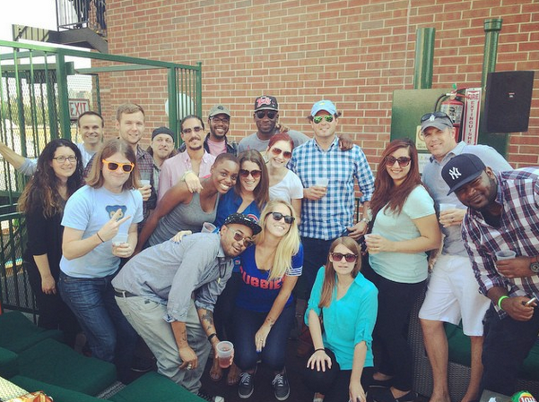 The Music Dealers Team at the Cubs game.