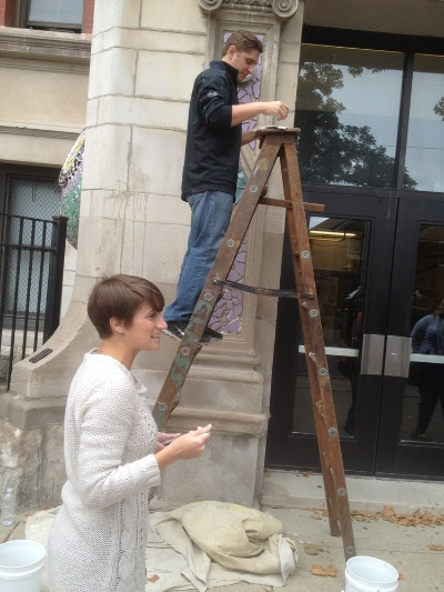 The Eclipse Team helping toinstall a mosaic installation at Mancel Talcott Fine Arts and Museum Academy.
