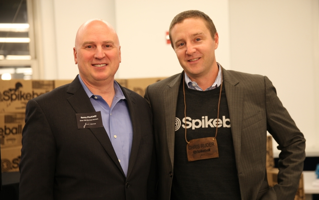 Remo Picchietti (left) with Chris Ruder of Spikeball at JuntoNight 2014