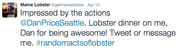 An example of Random Acts of Lobster