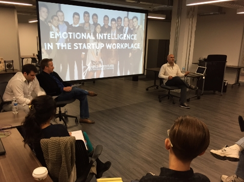 """Junto leading an SI workshop on """"Emotional Intelligence in the Startup Workplace"""". Ramzey Nassar,JuntoII,and Dave Dyson,Junto I,lead the conversation (on left), with Raman Chadha,JuntoTeam,moderating (on right)."""