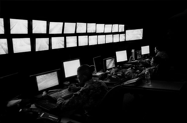 Control Room  Cameras mounted along the fence send live video feeds to monitoring centers like this one in San Ysidro, California.