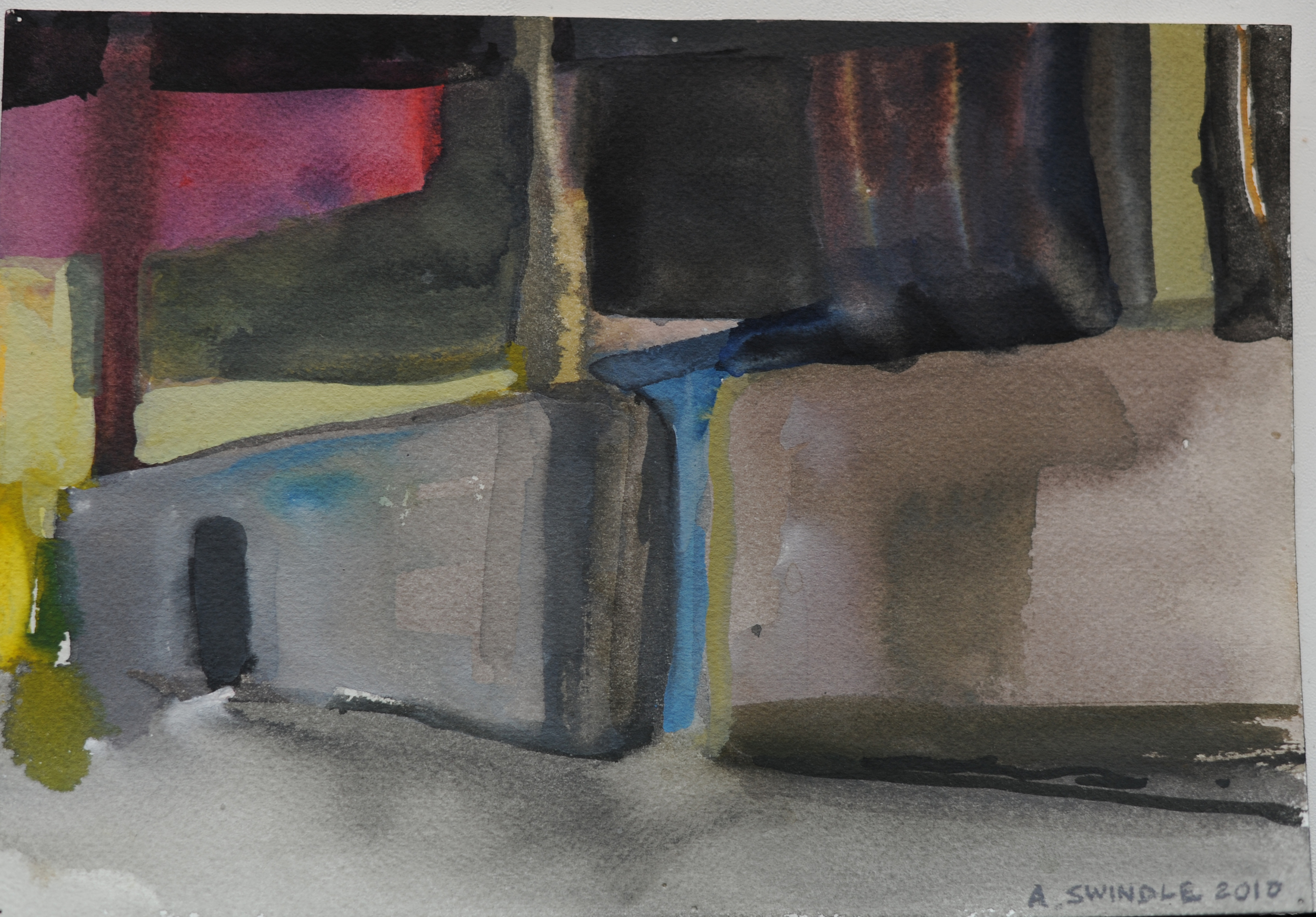 """Highline  , 7"""" x 10.25"""", watercolor on paper, 2011"""