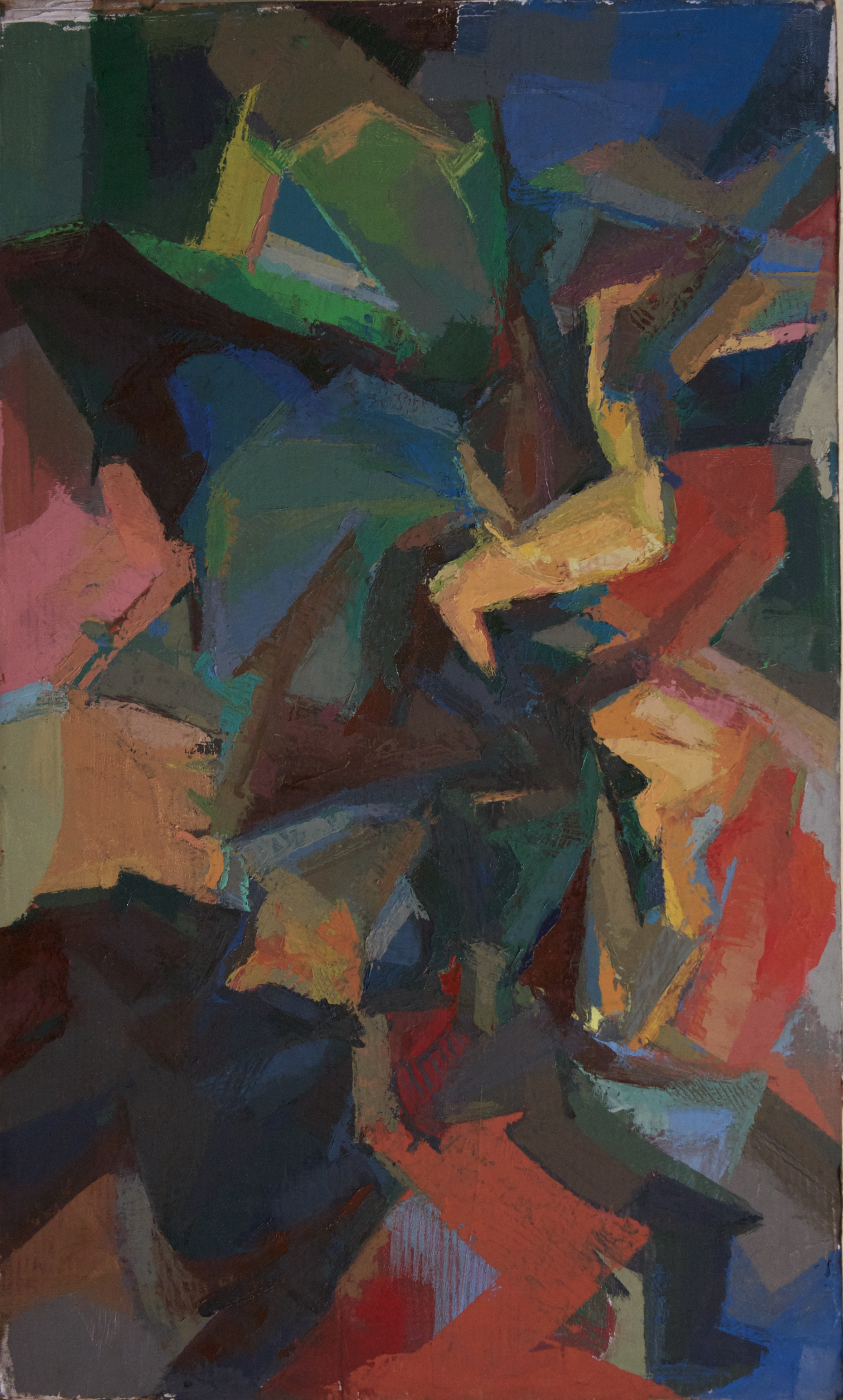 "Booster  , oil on cardboard, 16"" x 12"", 2015"