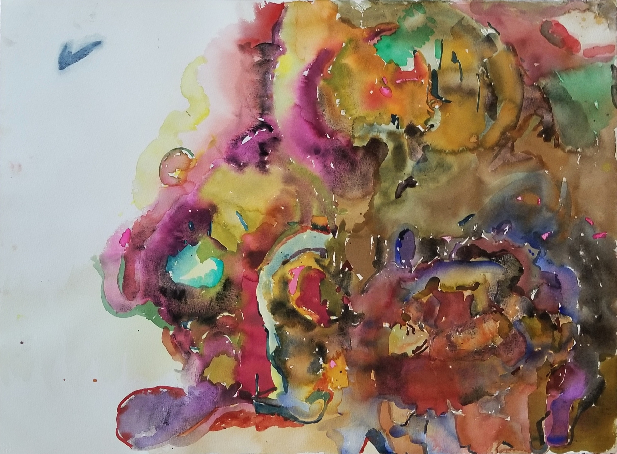 """Incoming  , 22""""x30"""", watercolor on paper, 2013"""