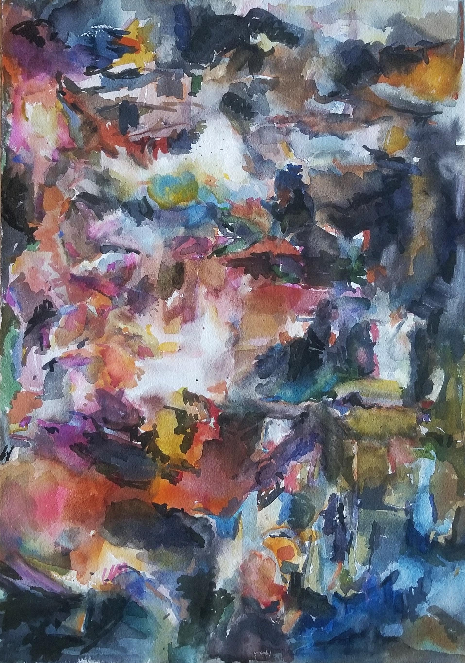 "Radiate  , 14"" x 12"", watercolor on paper, 2013"