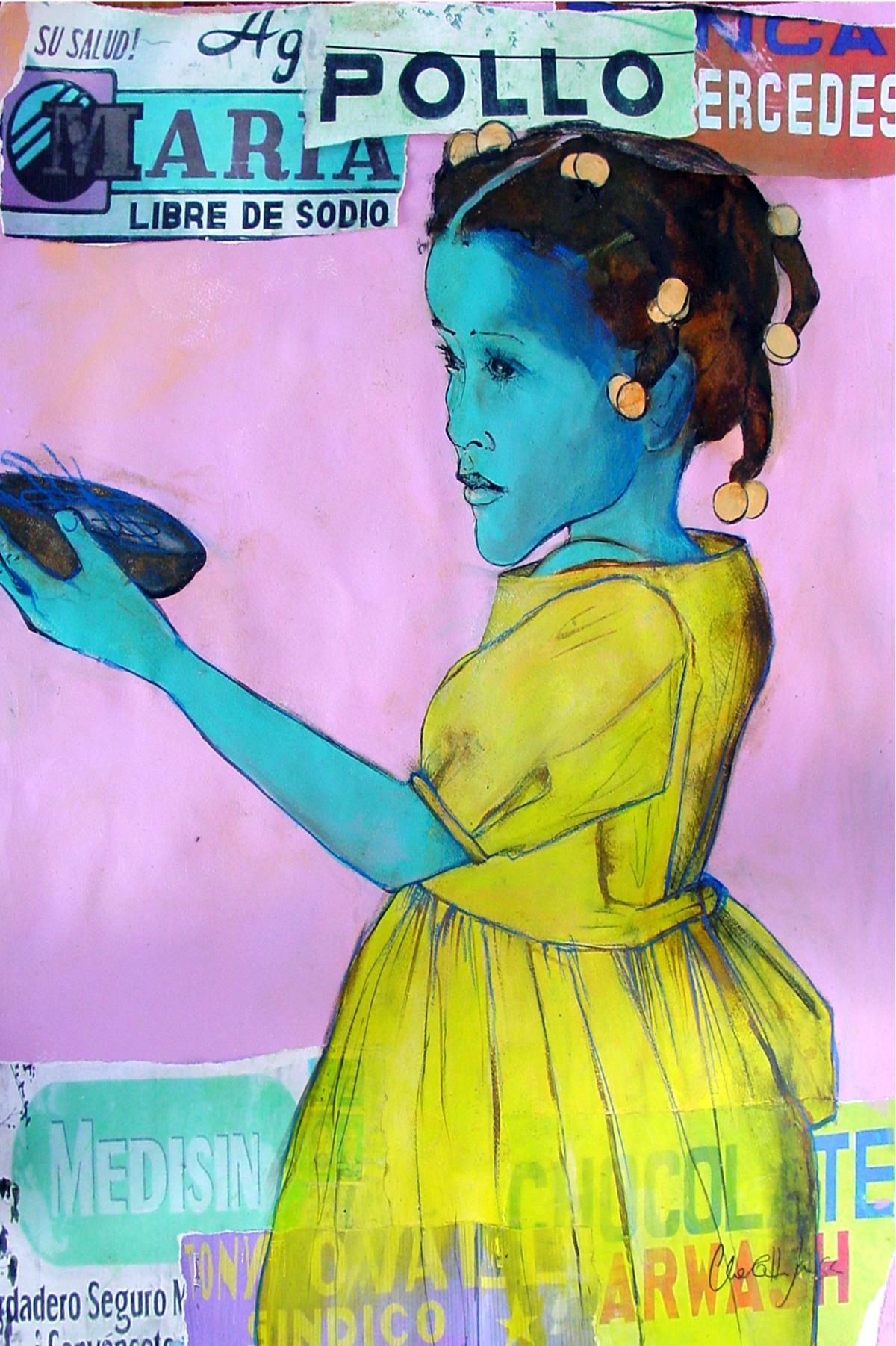 Little Girl In Bold Yellow Dress