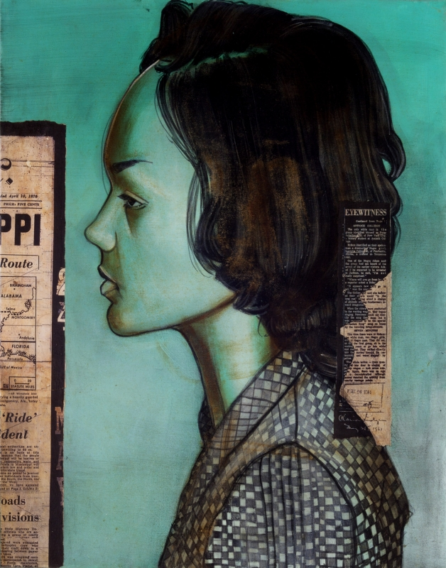 """Lucretia Collins, 21, Nashville, TN.Arrested 5/24/1961 in Jackson, MS 48"""" x 72"""" (2011) Oil, Acrylic, Iron Oxide & Collage  For full article click here"""
