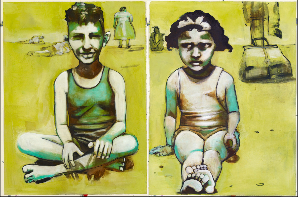 """Diptych, 2008, 30"""" x 40"""" Image is from the forties. Materials: acrylic and iron oxide onto paper."""