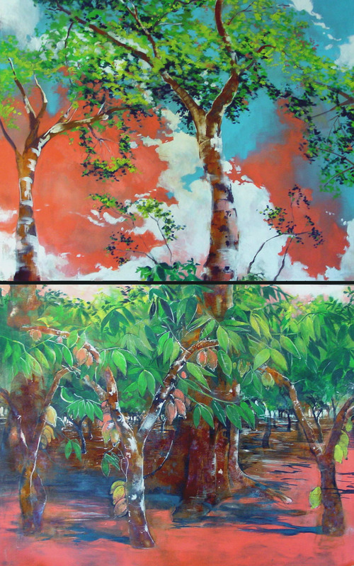 5' x 8', Diptych, 2002,Acrylic, oil and iron oxide onto canvas.