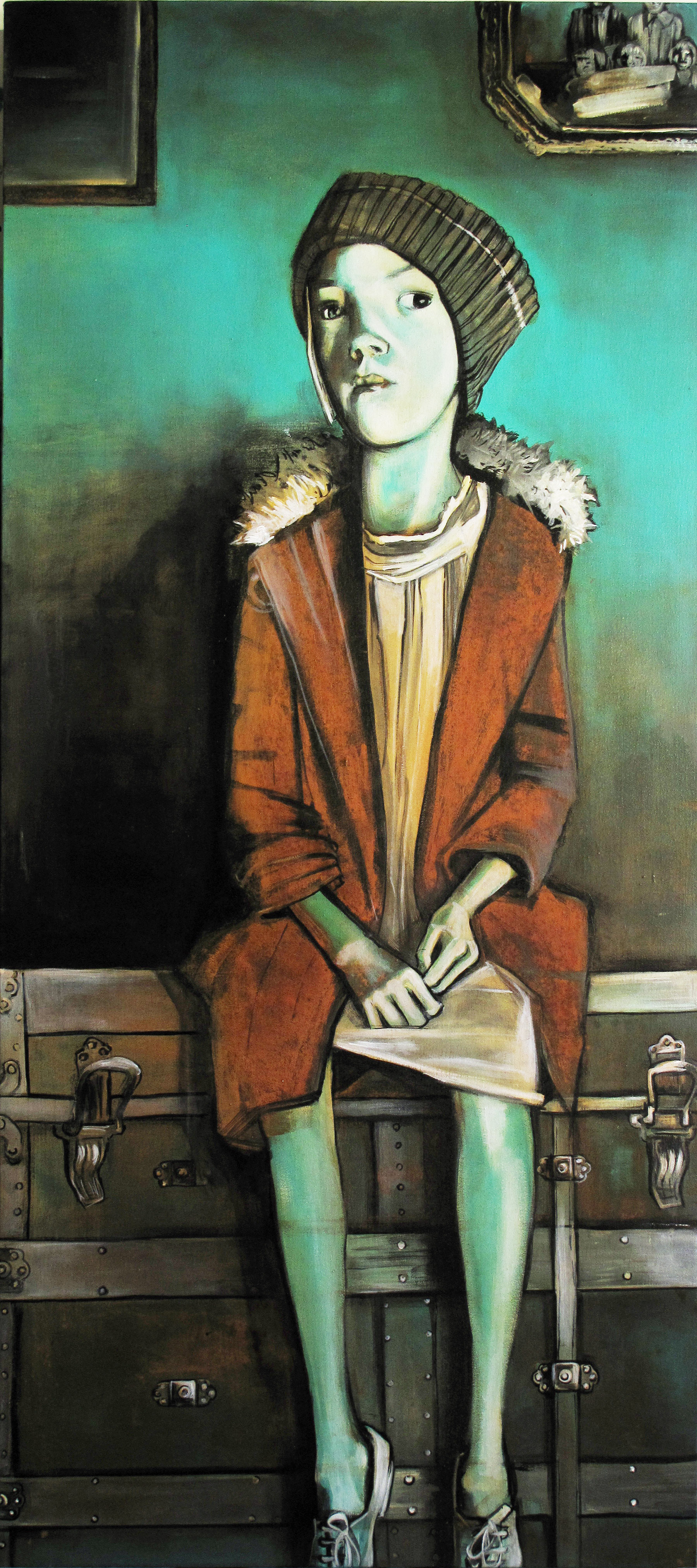 Sue, Farmer's Daughter - Painted in 2009, 24'' x 54'' Materials: Acrylic, iron oxide oil and copper salt wash on canvas.