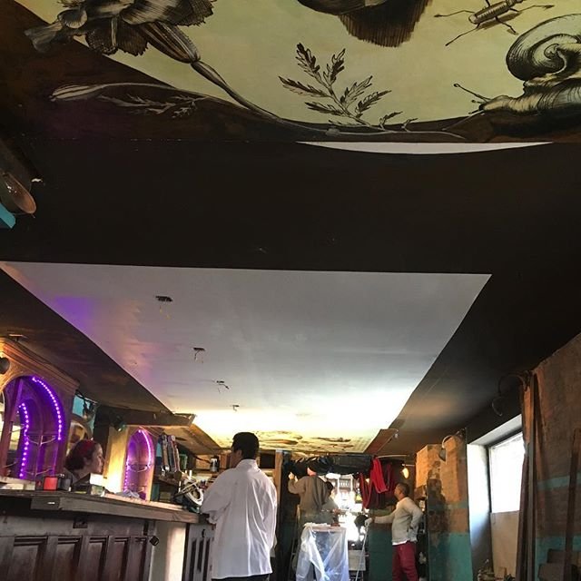Now the whole mural is up... I think we won a few feet (at least seemingly) in height... reopening Monday! Loving renovation is a dirty job but someone's got to do it!