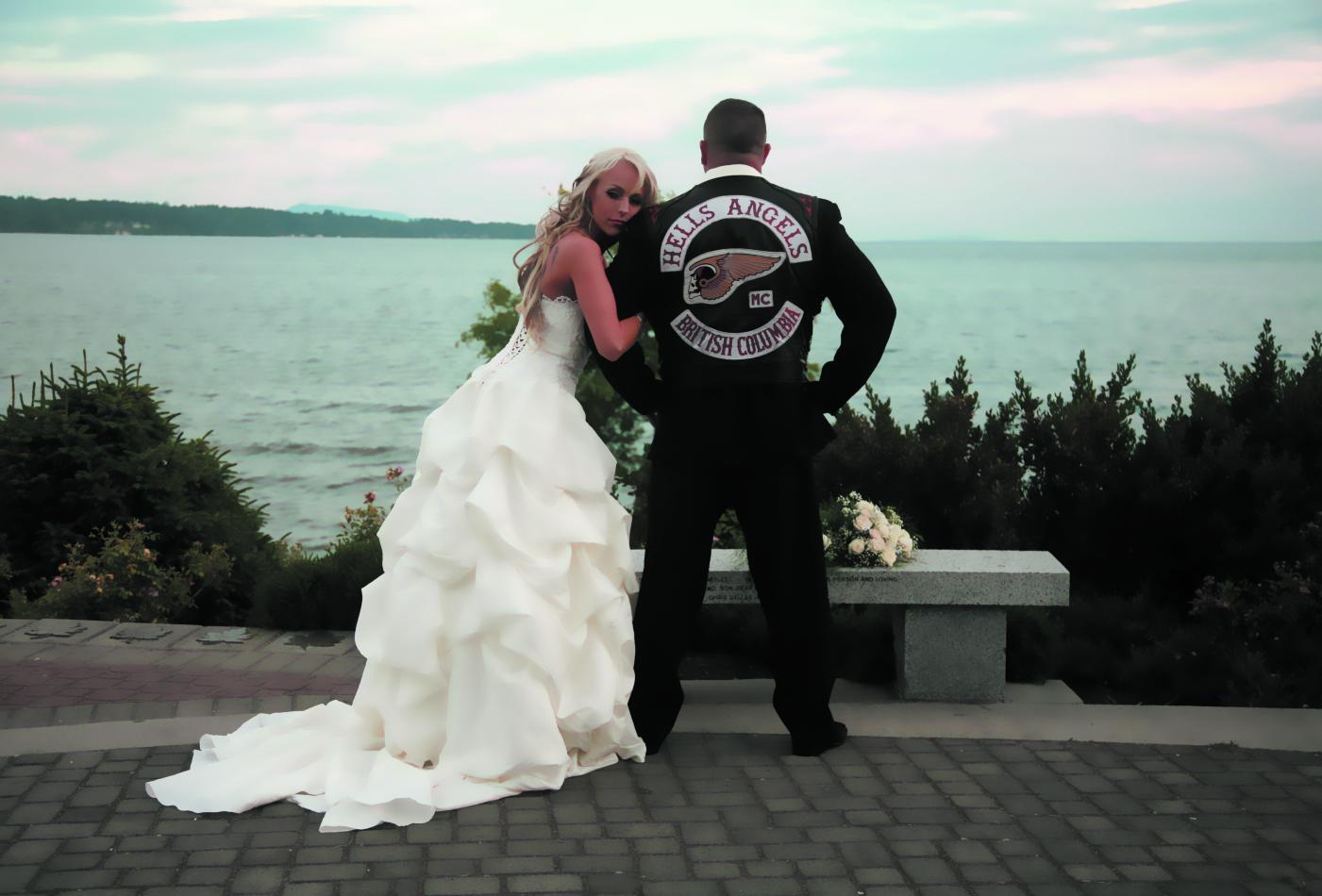 Kerri Krysko on her wedding day with her full patch Hells Angel ex-husband.