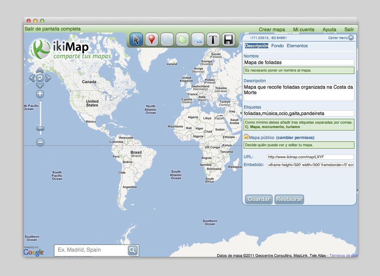 Creación de un mapa en la web anterior.