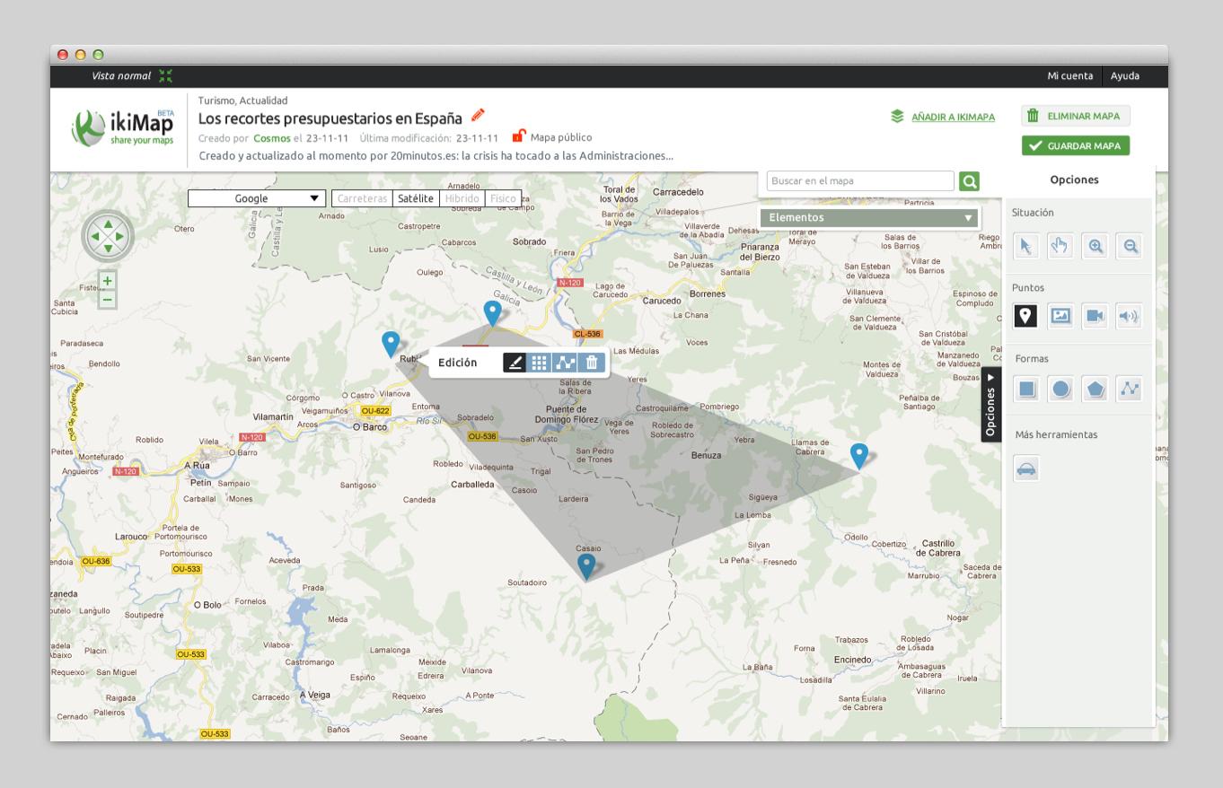 La colaboración con el equipo de Ikimap para realizar el rediseño ha sido fundamental. intentamos crear una experiencia sencilla, divertida y rápida a la hora de crear un mapa y compartirlo.