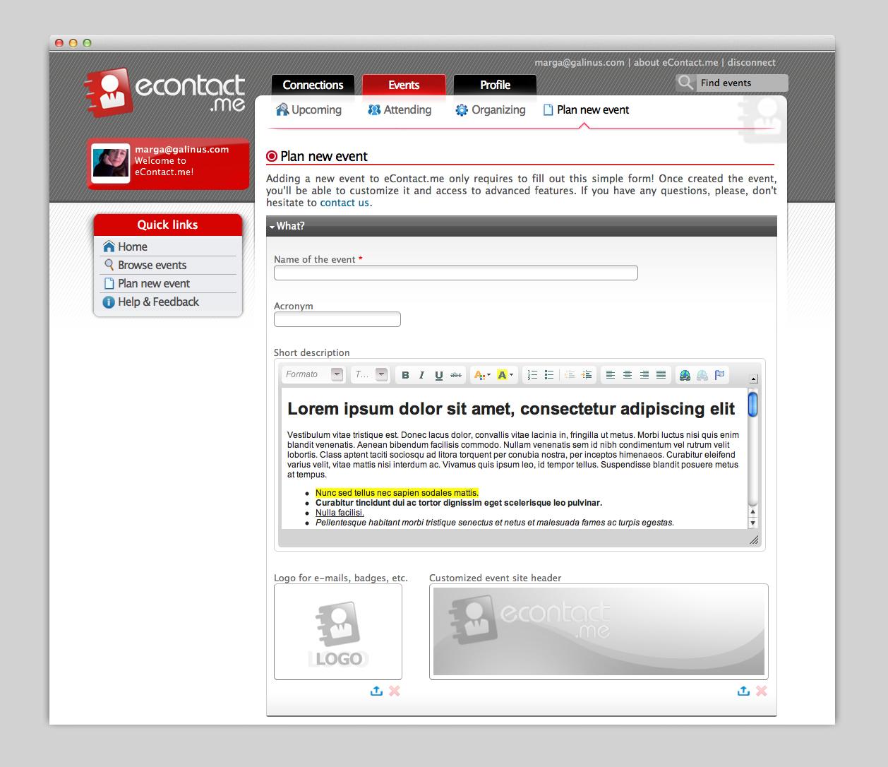 Plantilla interior en la web inicial.