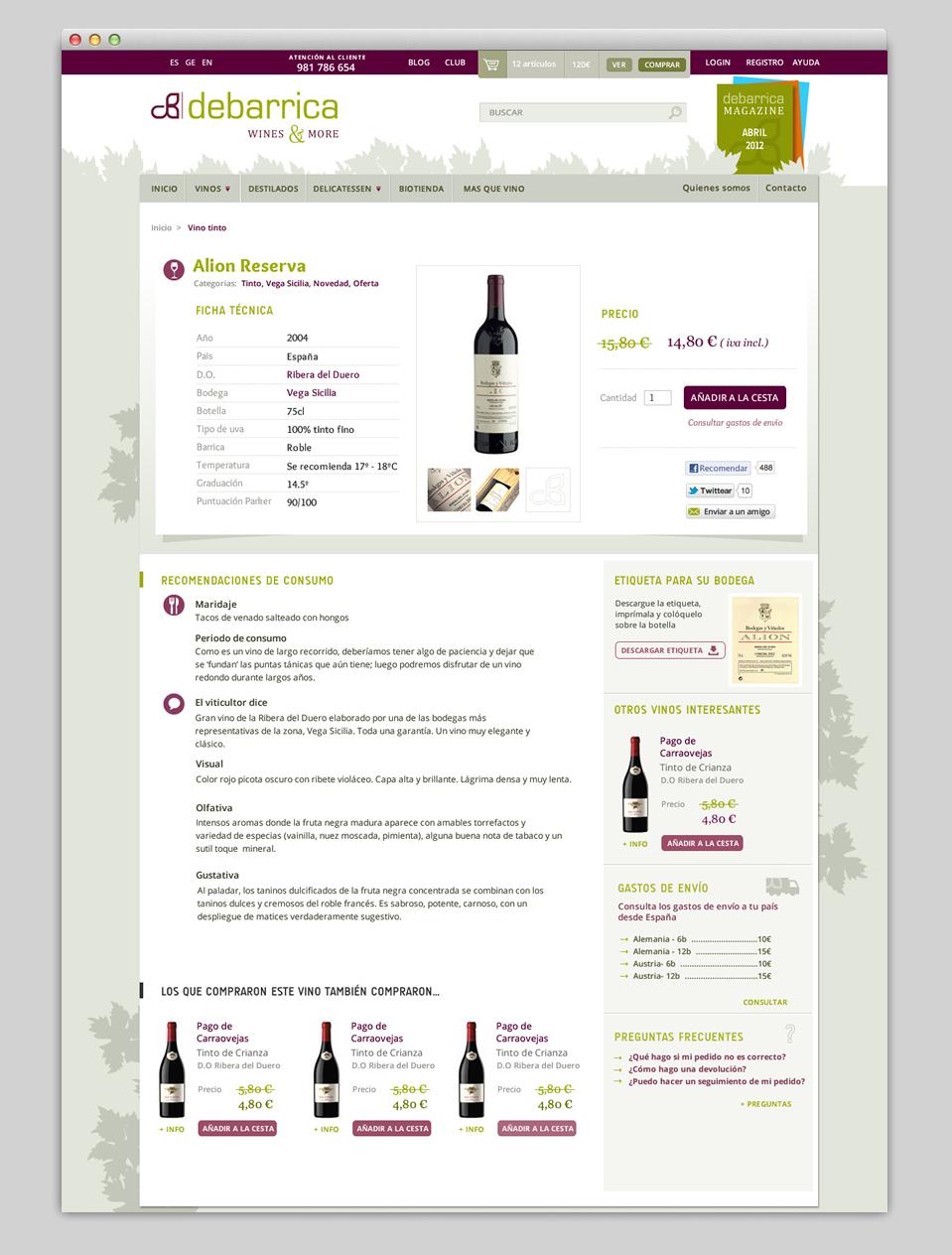 Ficha de producto actual.