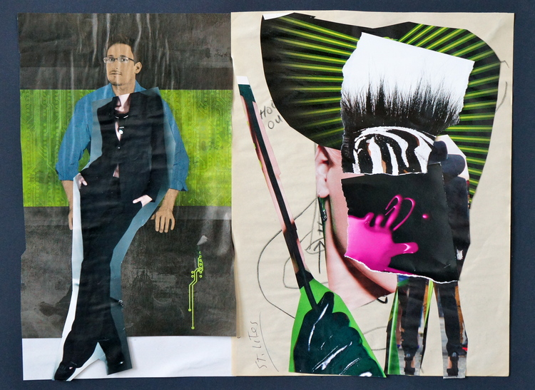 Dominic Alleluia, Snowden Wanted  , mixed media on paper, 12x16 inches, 2014.