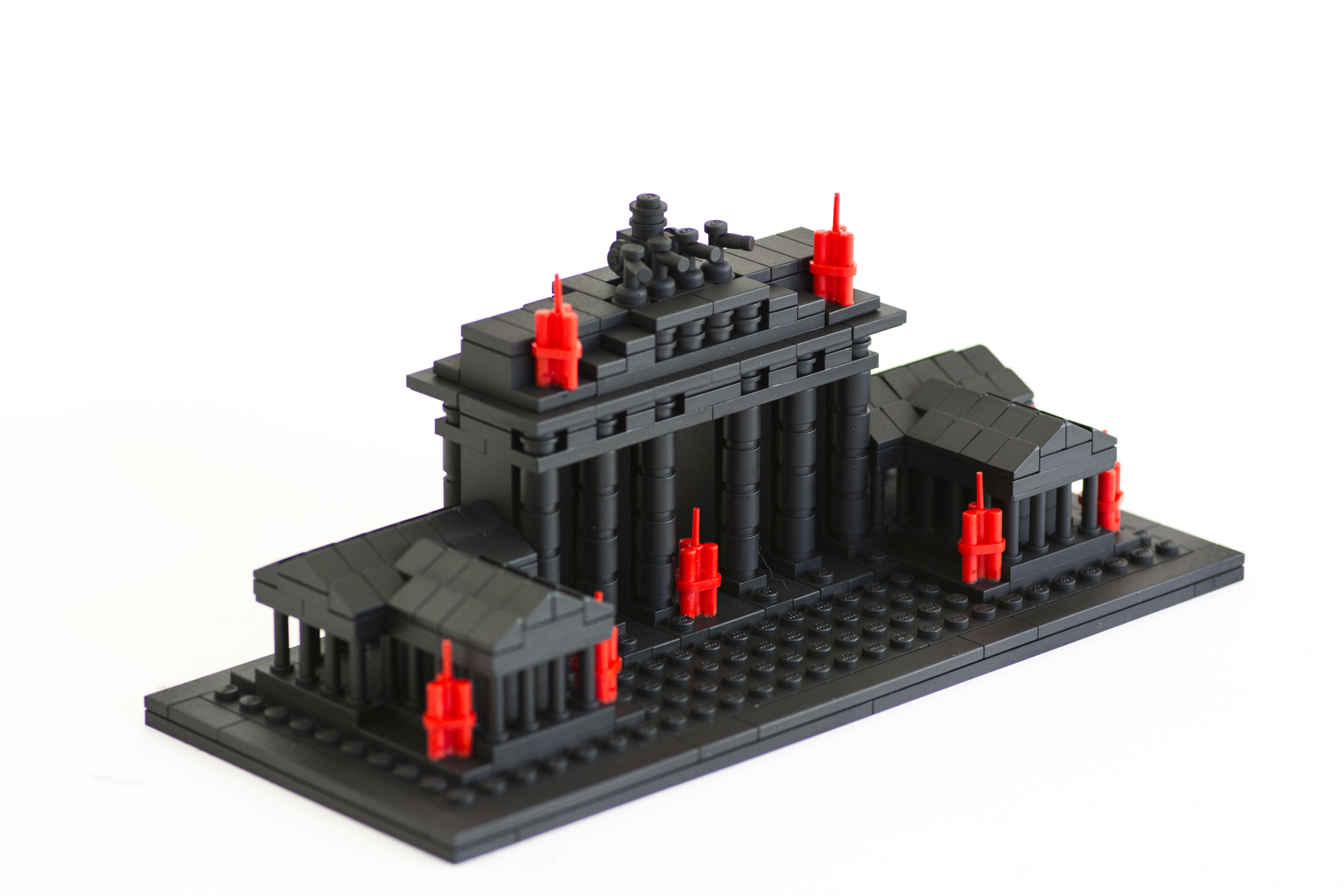 """Anti-Monuments for Counter Histories (09/12/1987) , painted lego pieces and plastic dynamite, 3.6"""" (9.2cm) tall, 8.8"""" (22.4cm) wide and 3.7"""" (9.6cm) deep,2015"""