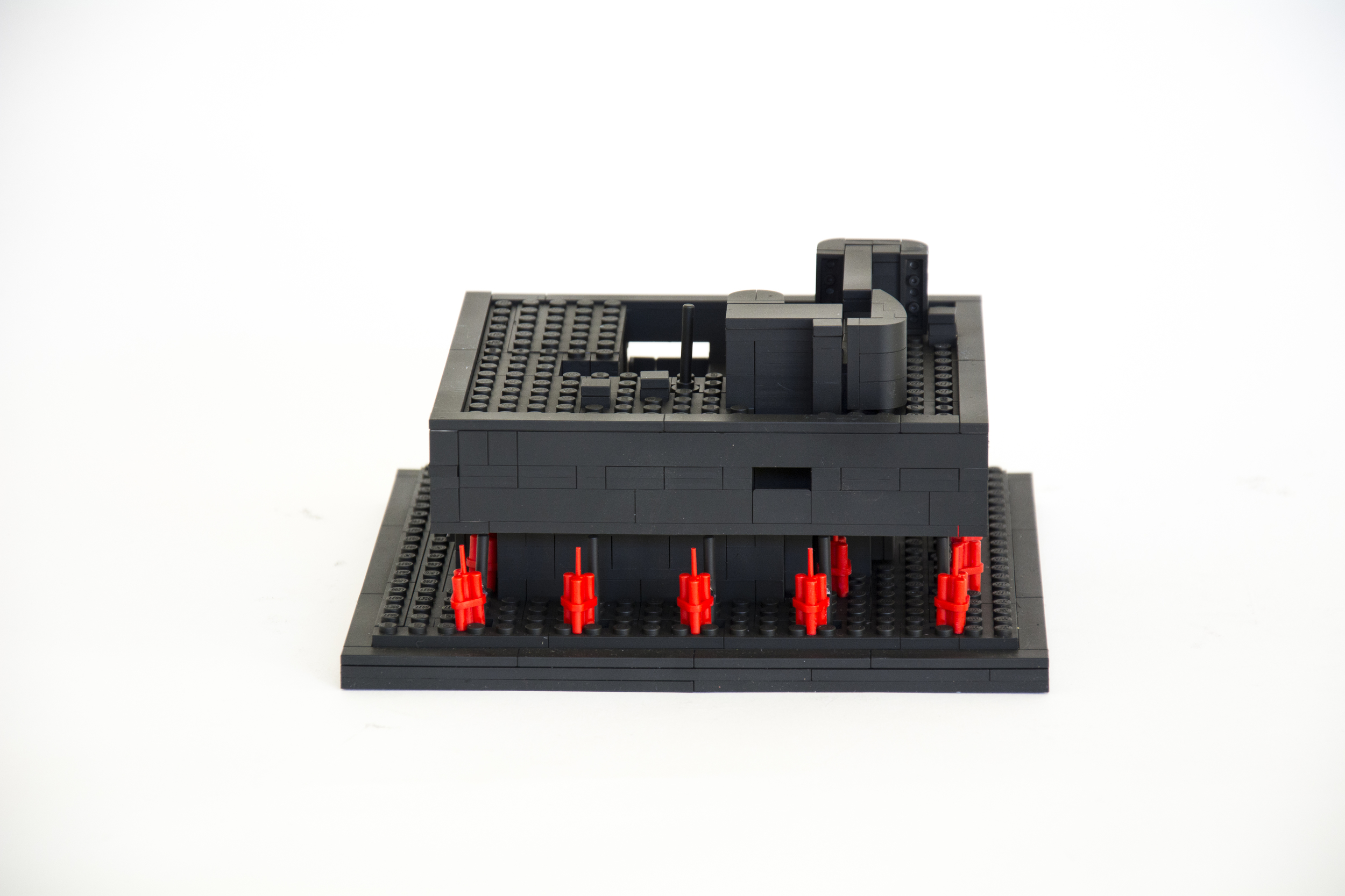 """Anti-Monuments for Counter Histories (07/15/1972) , painted lego pieces and plastic dynamite, 3.6"""" (9.2cm) tall, 7.5"""" (19.2cm) wide and 6.9"""" (17.5cm) deep,2015"""