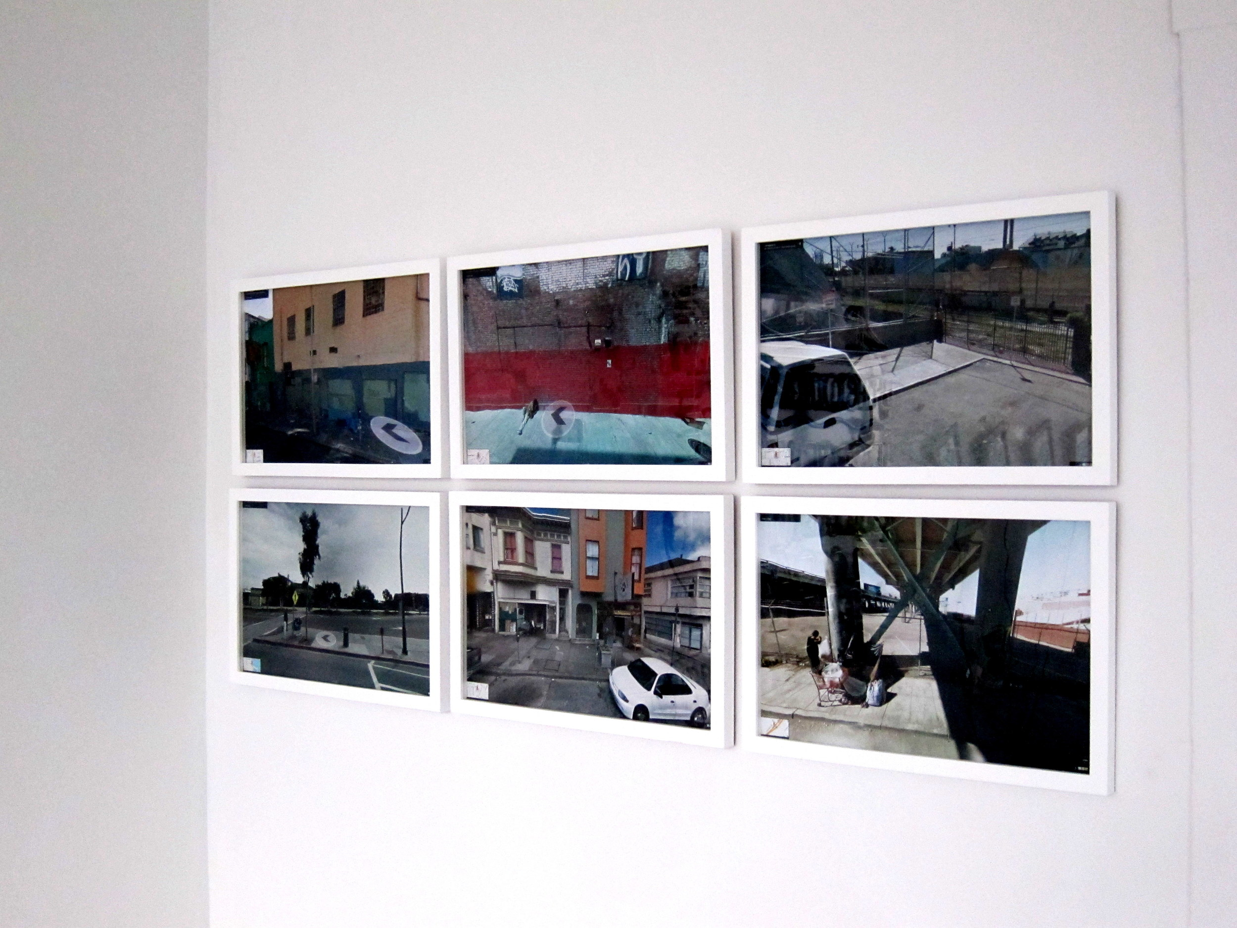COLL.EO, A New American Dream, 2014.Six framed digital prints measuring 11 x 17 inches each from the ongoing series A New American Dream (2014-) hung on the wall in a grid (3 x 2).