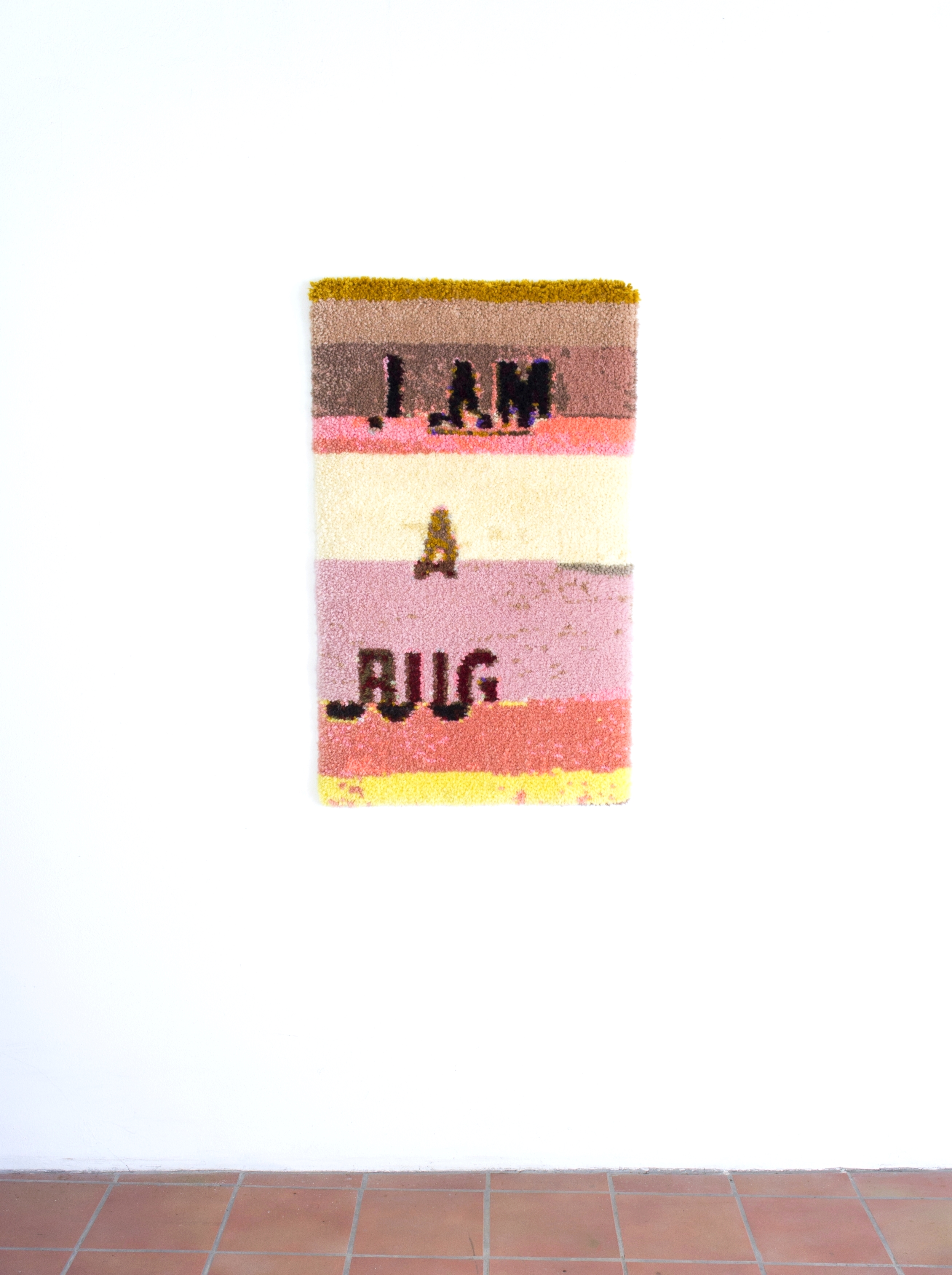 Status Update (BUG), Anchor 6ply wool, latch hook canvas, and cotton, 63 x 92 cm, 2016