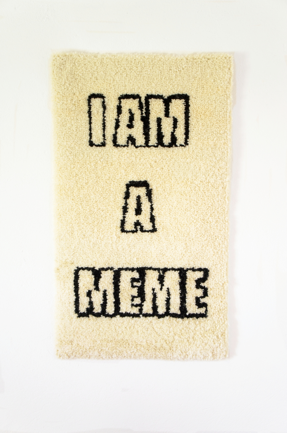 COLL.EO,  STATUS UPDATE: I A MEME,  2016, 60 x 102 cm (23 x 40 inches), wool, cotton, wood.