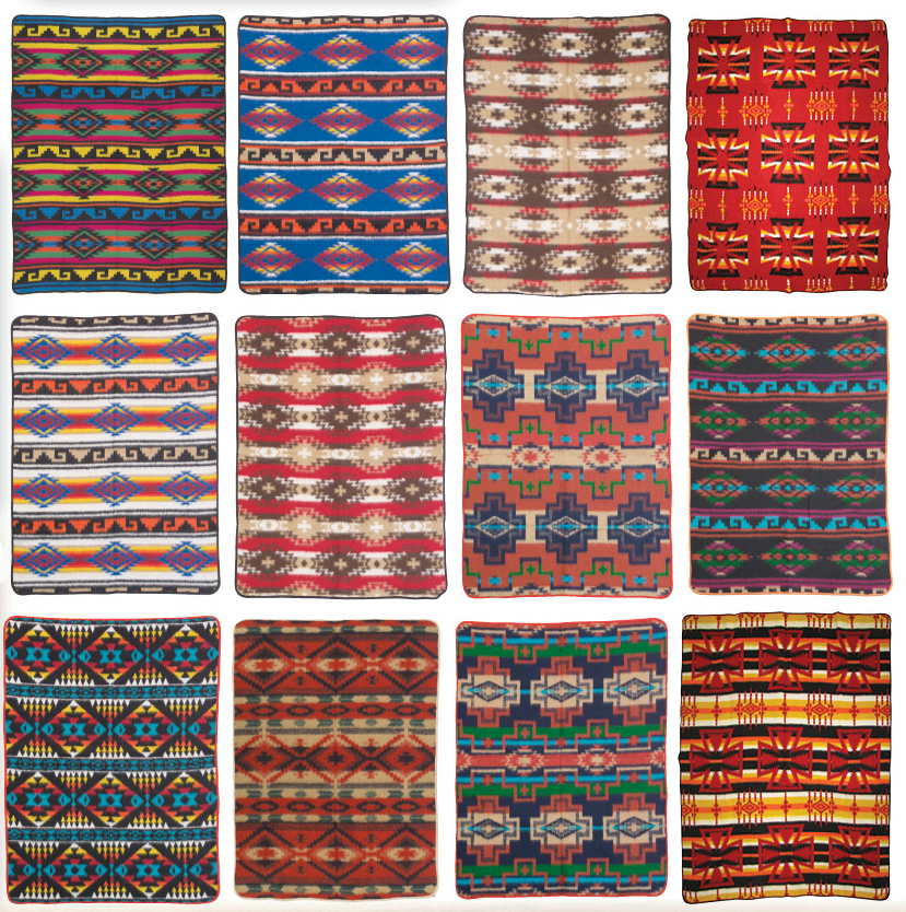 American Indian Aztec design camp blankets