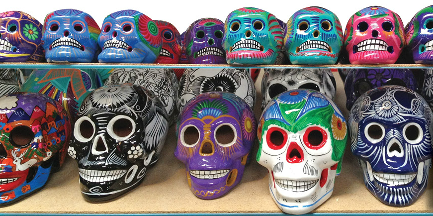 Ceramic 'day of the dead' skulls, hand-made in Mexico
