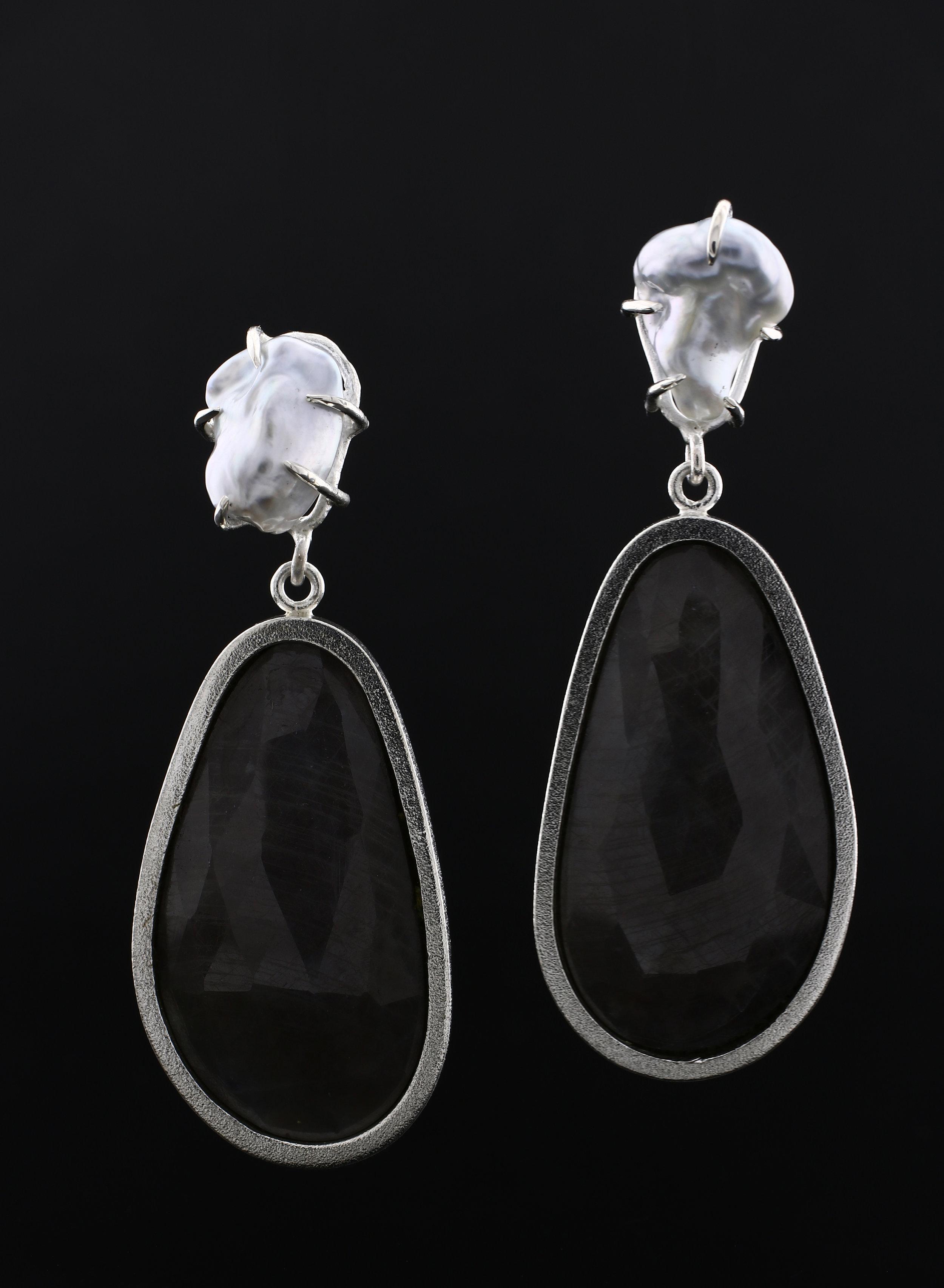 Sapphire + Pearl Earrings, 2018