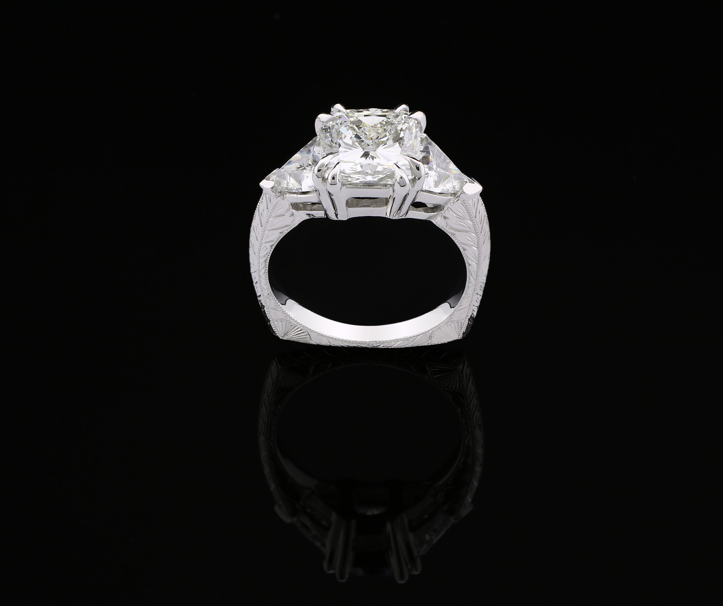 Custom Cushion Platinum Wedding Ring, 2018