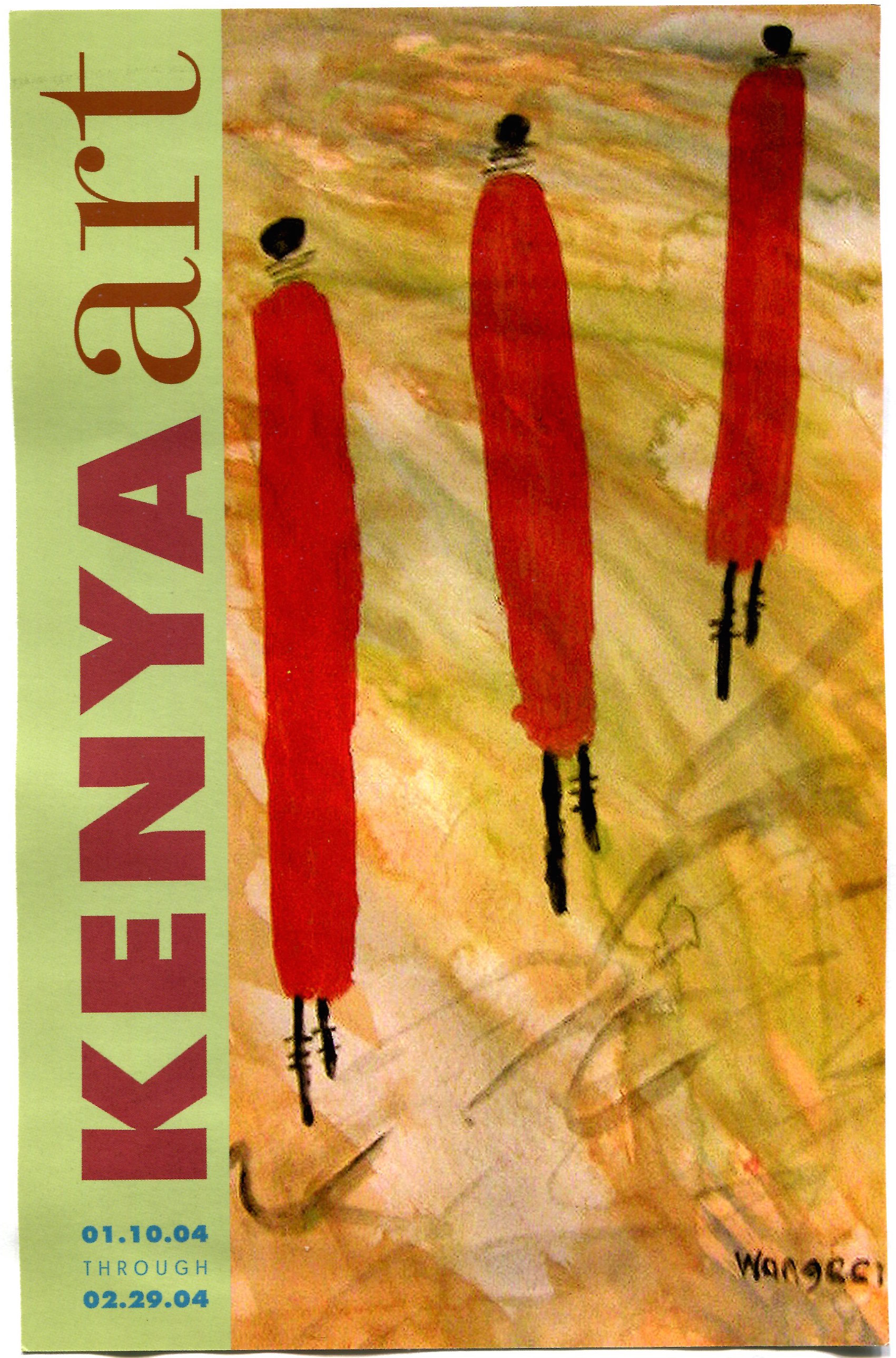 "The flyer for ""Kenya Art"", exhibitions, programs, and performances curated by Judy Ogana and Carol Lees, of artwork from Kenya. The Collaborating venues were the Brooklyn Public Library, FiveMyles, the Salena Gallery at LIU, Welancora Gallery, and Kentler International Drawing Spate. Artwork on the flyer by Beatrice Wangeci. 2004"