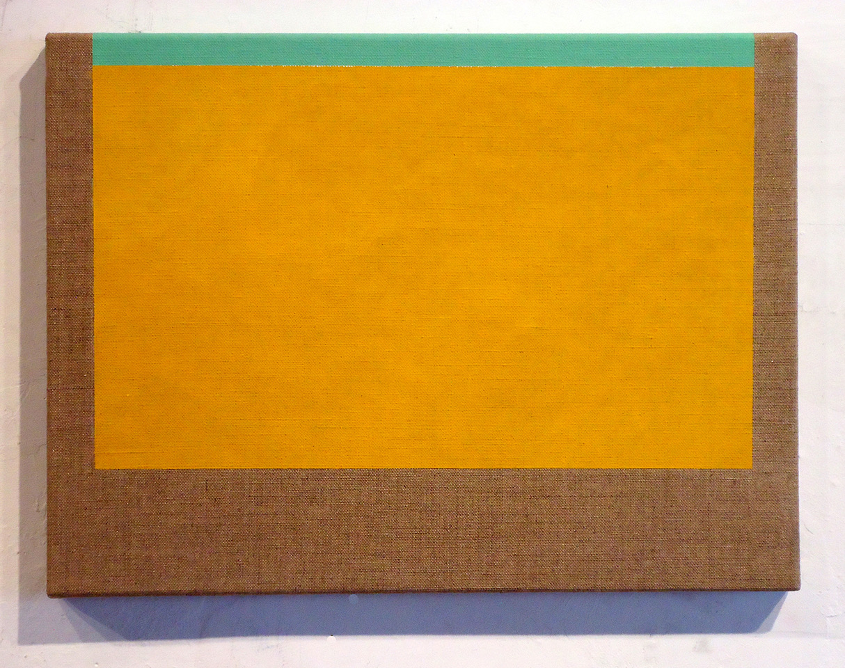 #5 Sharon Brant  Golden Yellow with Light Green  Acrylic on linen 9 x 12 in 2019