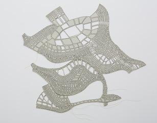 #11 Nicholas Constantakis  Take off No. 3  Ink on paper + thread,  14 x 15 in 2013